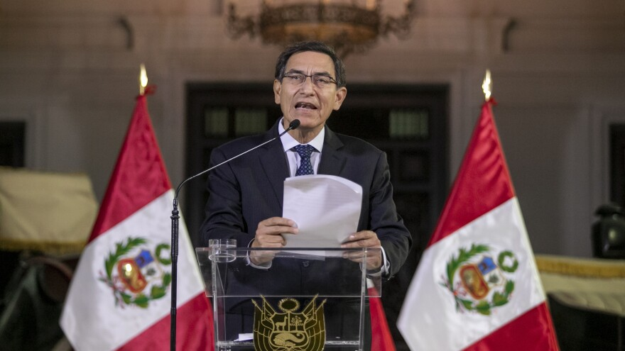 Peruvian President Martin Vizcarra delivered a national message Monday at the government palace in the capital, Lima, announcing the dissolution of the opposition-controlled legislature amid a bitter feud with lawmakers.