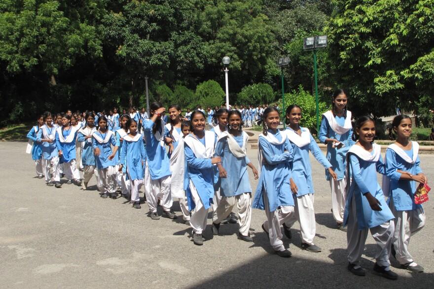 Schoolgirls visit the Nehru Memorial Museum and Library.