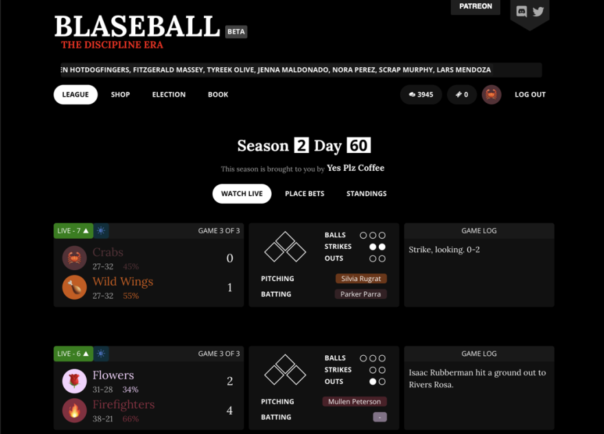 A screenshot of Blaseball's interactive story.