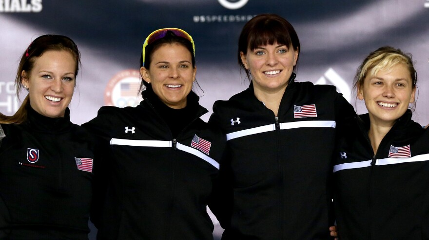 From left: U.S. Speedskaters Kelly Gunther, Brittany Bowe, Heather Richardson and Sugar Todd are aiming for Olympic glory in Sochi, Russia.