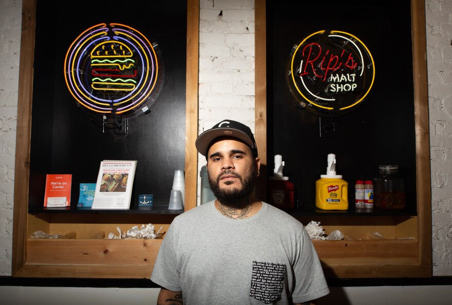 Erick Castro is pictured inside of Rip's, a vegan malt shop he recently opened with partners near the Brooklyn Navy Yard.