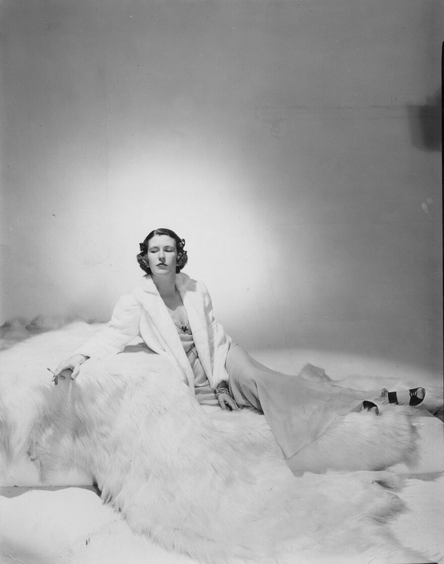 Nancy Hale in 1936, photographed for Harper's Bazaar in a white ermine jacket.