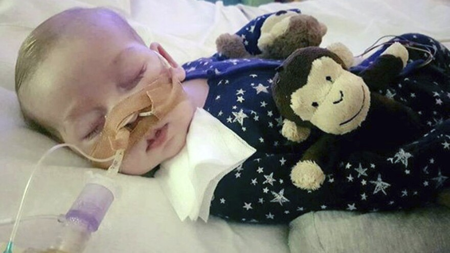 An undated photo of Charlie Gard, provided by his family, was taken at Great Ormond Street Hospital in London.