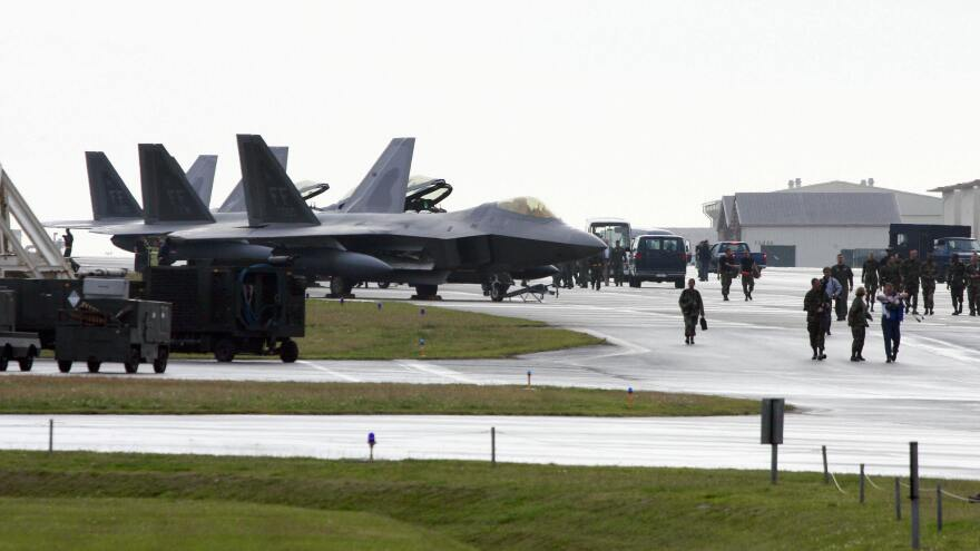 U.S. Air Force F-22 Raptors are seen parked at Kadena Air Base on the island of Okinawa in Japan. The U.S. military established a presence on Okinawa during World War II.