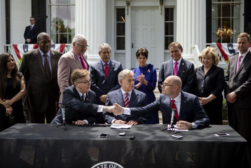 Lt. Gov. Dan Patrick, Gov. Greg Abbott and House Speaker Dennis Bonnen announce a deal on the top three legislative priorities.