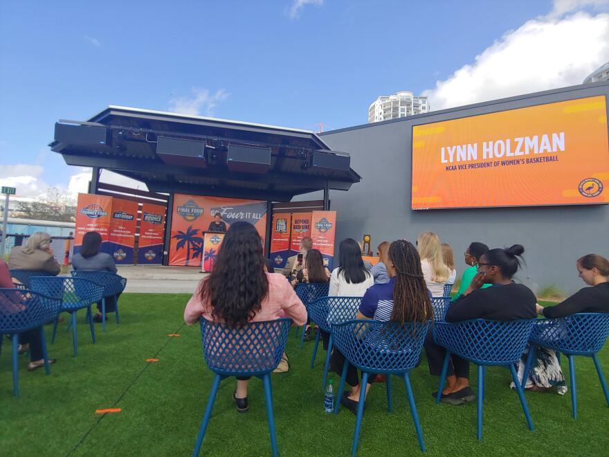 NCAA Vice President Lynn Holzman announces Final Four weekend events at Sparkman Wharf in Tampa.