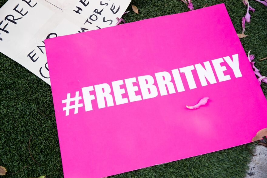 Signs in support of Britney Spears are seen during a #FreeBritney protest outside of the Tri Star Sports & Entertainment Group offices in West Hollywood, California.