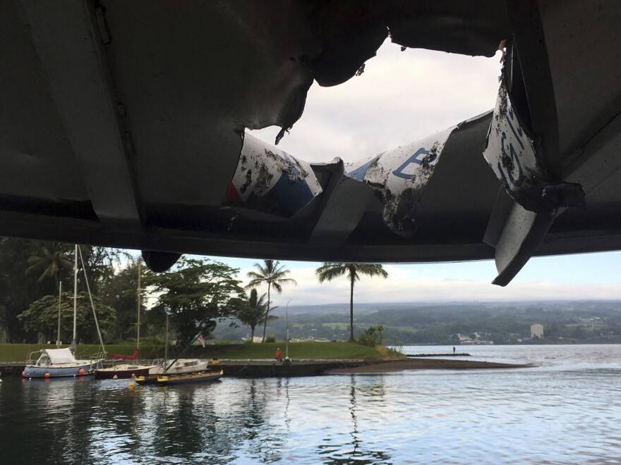 A tour boat was damaged and 23 people injured when lava crashed through the roof of the vessel off the Big Island of Hawaii Monday.