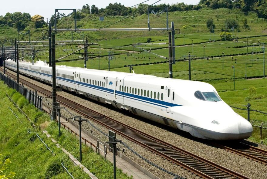 The Japanese Shinkansen is a high-speed train used by JR Central in Japan. A private company is planning to build a rail line between Dallas and Houston using the same trains.