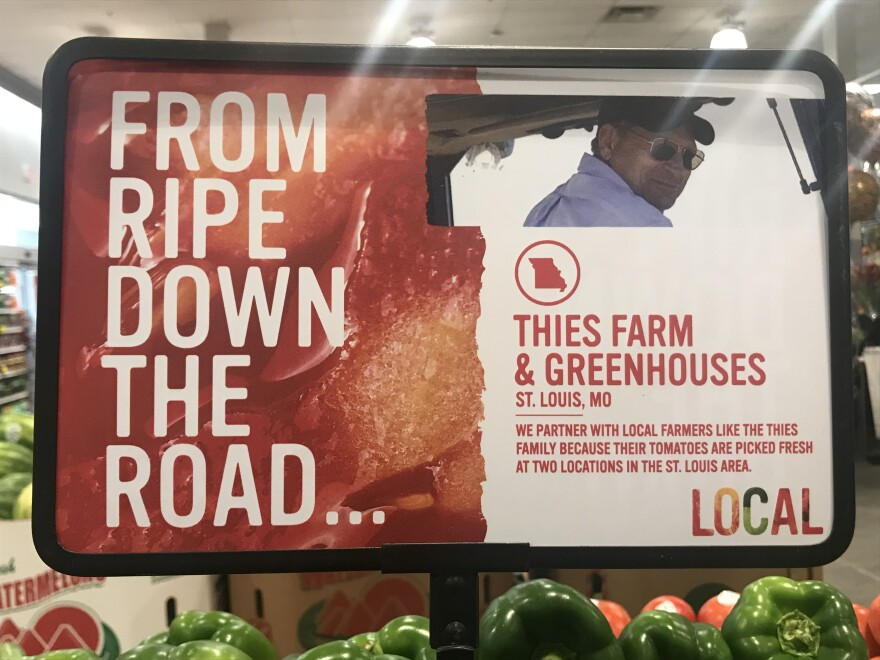 Signs highlighting a local agricultural connection are popping up at Schnucks Markets throughout the St. Louis region.