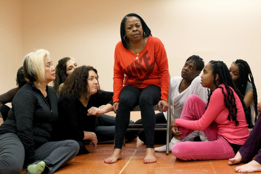 Cassandra Steptoe (center) rehearses a performance with fellow actresses as part of The Medea Project<em>, </em>in San Francisco. Steptoe wrote and performs an autobiographical monologue in the production about being HIV-positive.