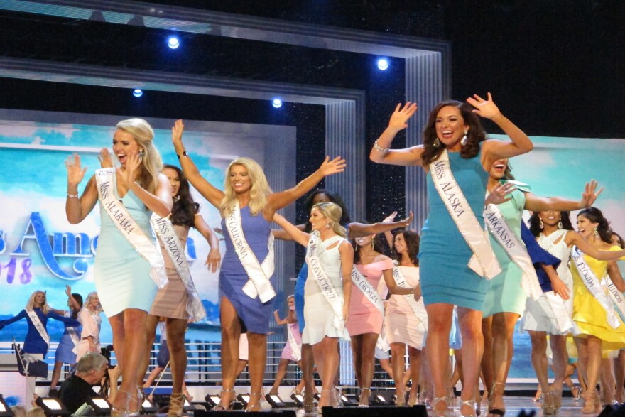 Contestants in the 97th Miss America competition take the stage in Atlantic City N.J. on Wednesday Sept. 6, 2017 in the first of three nights of preliminary competition. (Wayne Parry/AP)