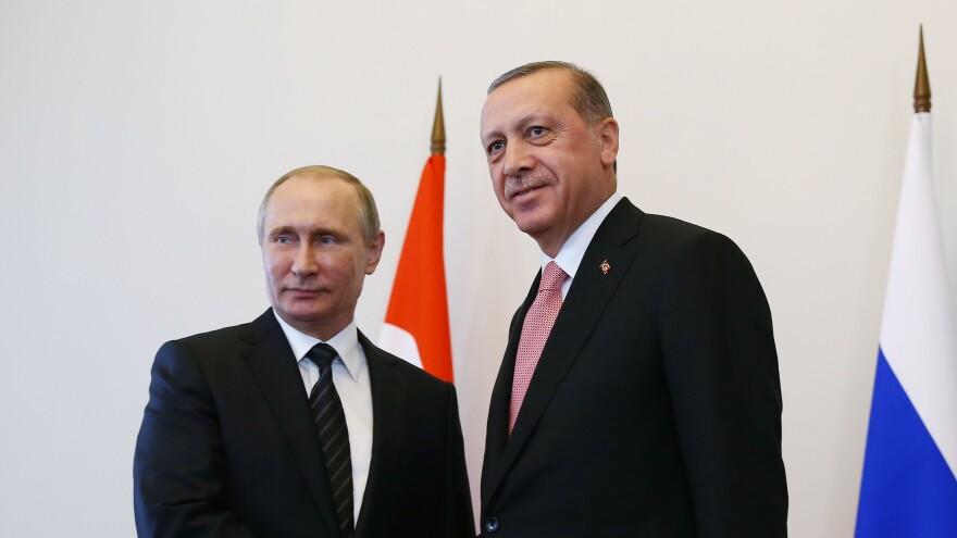 Turkish President Recep Tayyip Erdogan attends a meeting with Russian President Vladimir Putin in Saint Petersburg, Russia, on Tuesday.