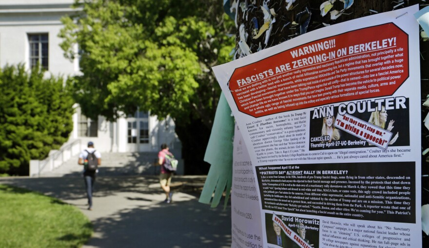 A leaflet is seen stapled to a message board near Sproul Hall on the University of California at Berkeley in Berkeley, Calif. The University of California, Berkeley says it's preparing for possible violence on campus whether Ann Coulter comes to speak or not.