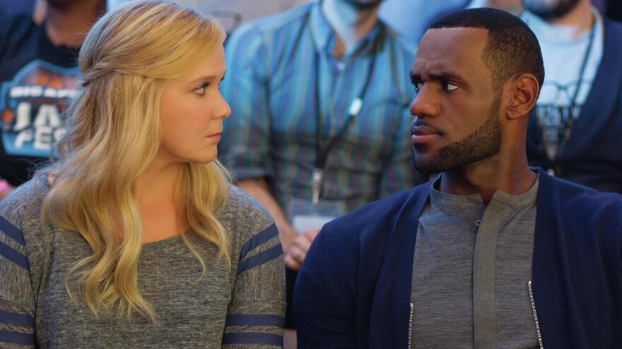 LeBron James (playing himself) asks Amy about her intentions in <em>Trainwreck</em>.