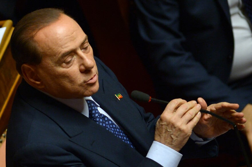 Former Prime Minister and leader of Forza Italia, Silvio Berlusconi speaks on Wednesday at the Senate in Rome.