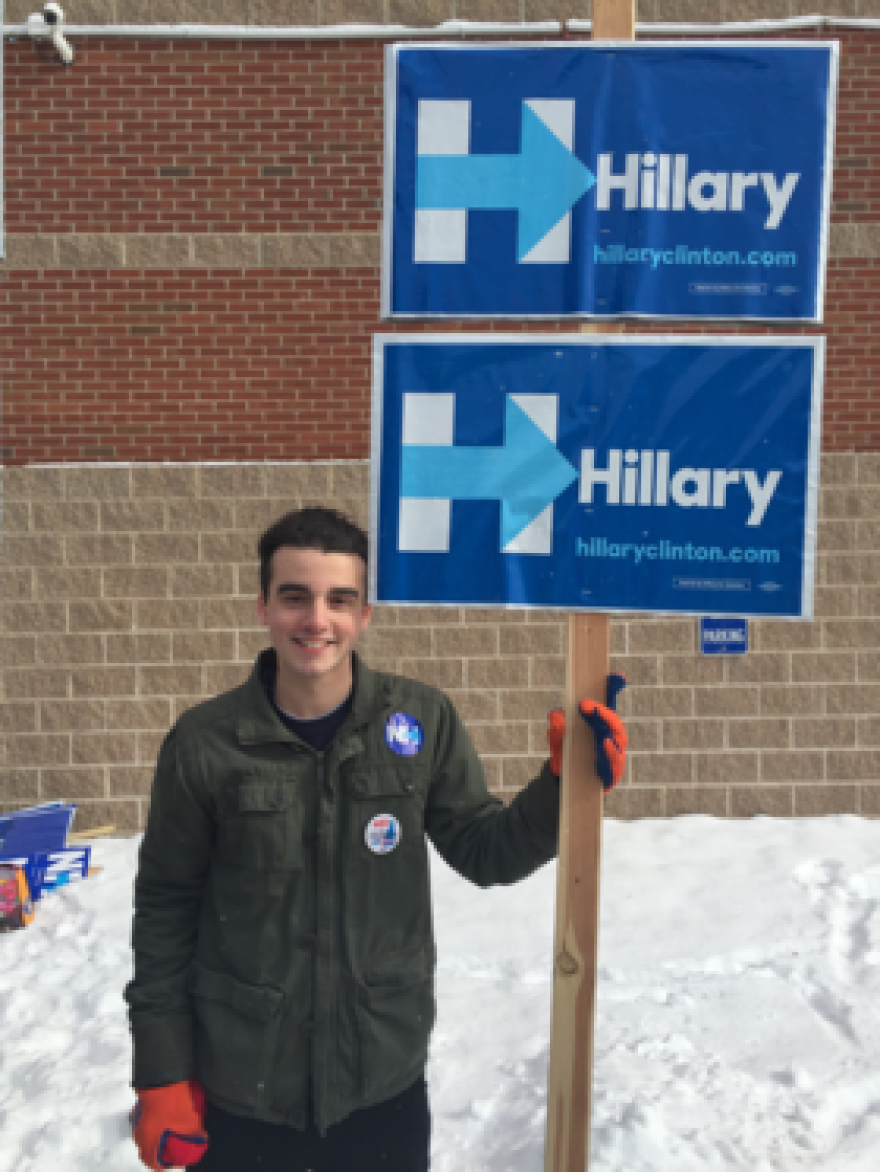 Sam Needleman, a 16 year-old from Hopkinton who's been volunteering for Clinton.