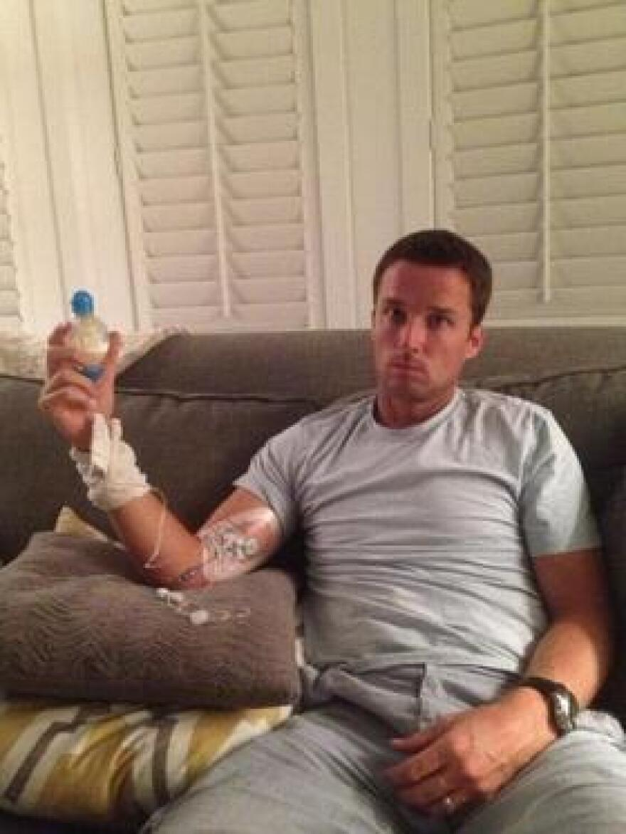 Amanda Tynes posted this picture of her husband, former Buccaneers kicker Lawrence Tynes, in August 2013 during the early part of his recovery from a MRSA infection.