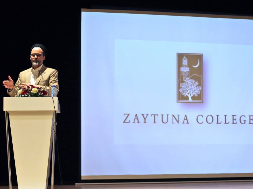 "Sheikh Hamza Yusuf, shown here in July 2015, is the founder of a Muslim liberal arts college in Berkeley, Calif. ""Ideas must counter ideas,"" he says. ""You can drop all the bombs you want, but if you don't pull up weeds by their roots, they just grow back."""