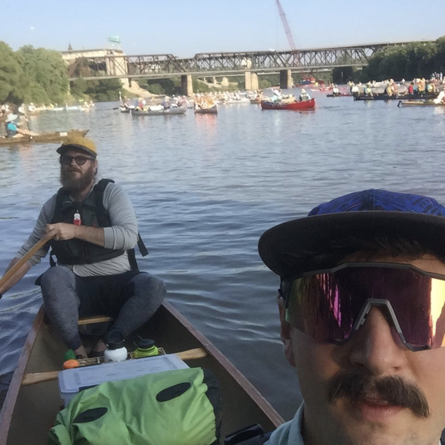 Trent Sturms and Brian Forsee took a selfie at the start of their MR340 run on Tuesday morning.