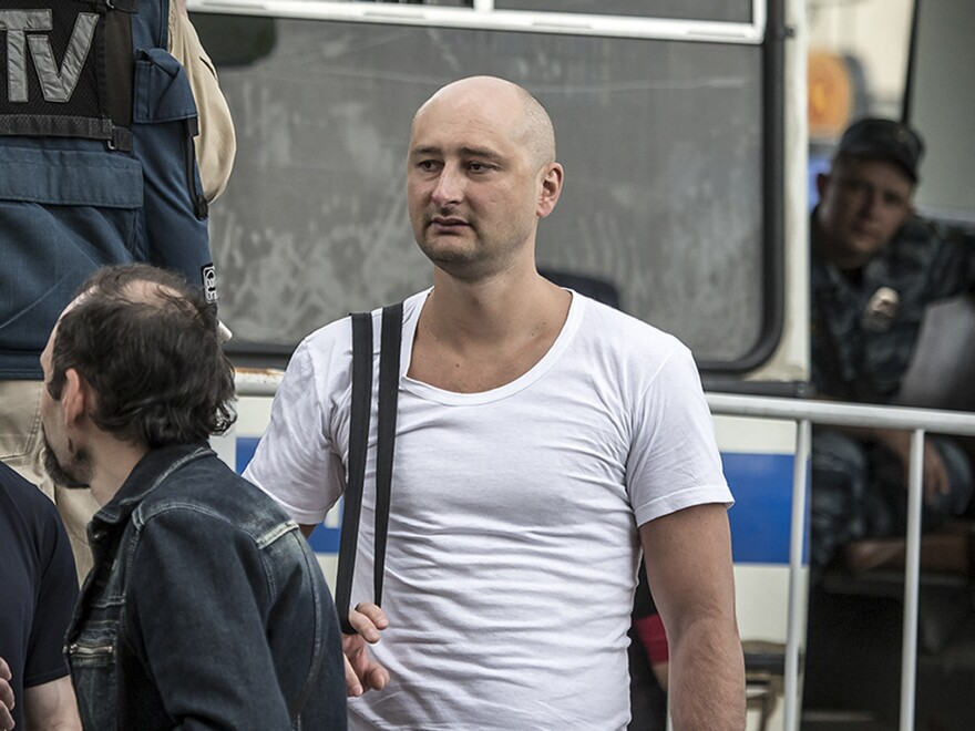 Police had said Russian journalist Arkady Babchenko was fatally shot at his apartment in Kiev, Ukraine, on Tuesday. He is seen here in 2013.