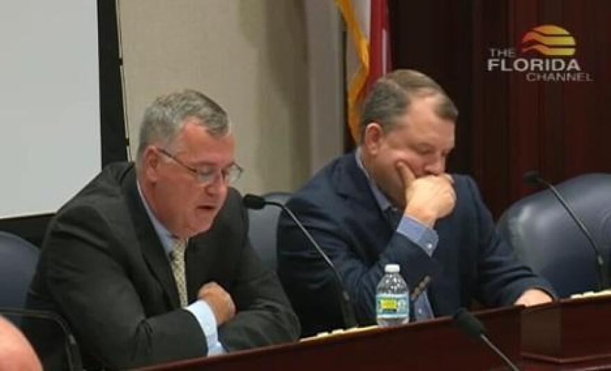Sen. Rob Bradley (right) as Rep. Ben Albritton (R-Bartow) explains the House offer.