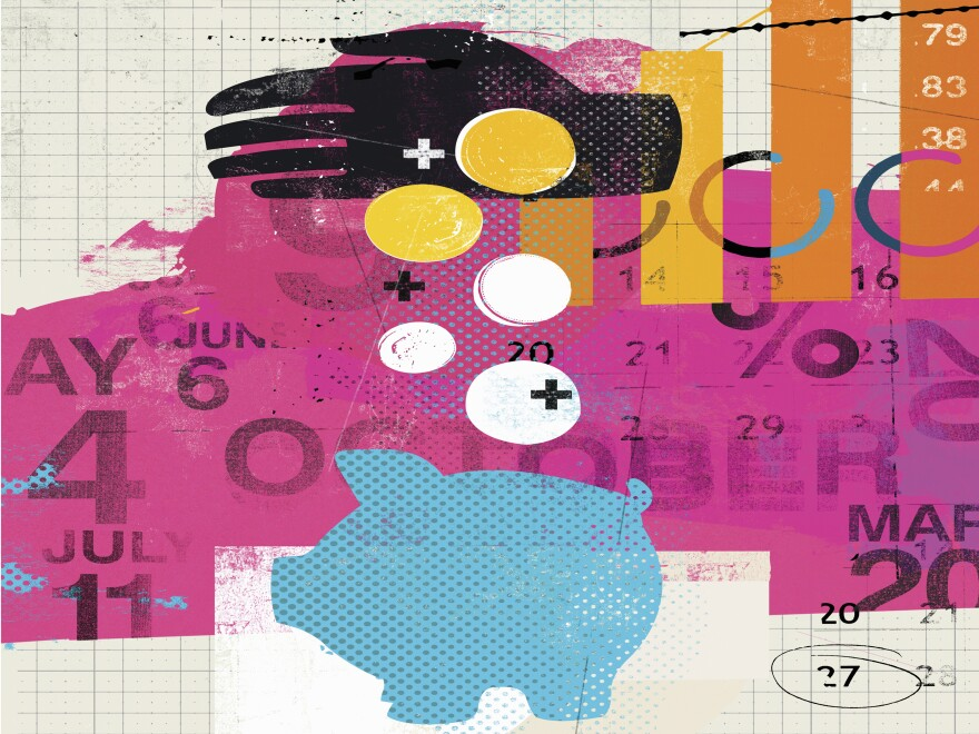 Illustration of a hand dropping coins into a piggy bank