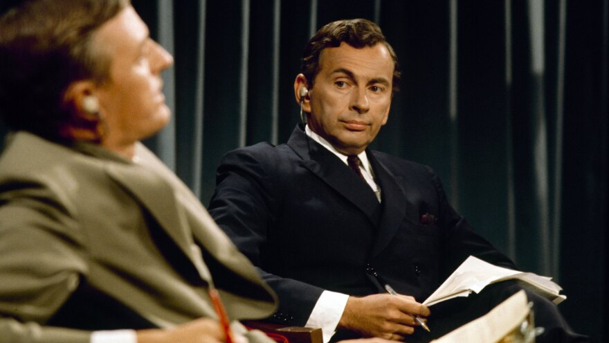 In 1968, ABC paired two pundits from opposite ends of the political spectrum — William F. Buckley Jr. (left) and Gore Vidal — for a cut-throat intellectual faceoff. The documentary <em>Best of Enemies </em>explores this media milestone.
