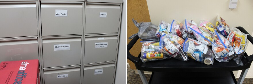<strong>Left:</strong> West Elementary School faculty keeps cabinets full of clothing, book bags and supplies for students. <strong>Right:</strong> The majority of students at West Elementary School receive free or reduced-priced lunches. A local church donates snack bags, passed out to students on Fridays.