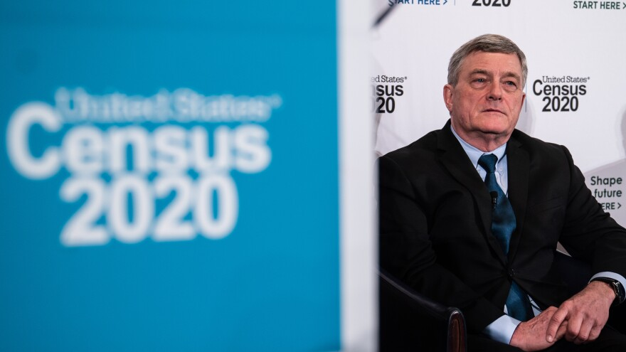 Census Bureau Director Steven Dillingham appears at a 2020 census event in April 2019. He says despite concerns, the bureau is on track to carry out the first primarily online U.S. census with enough workers.