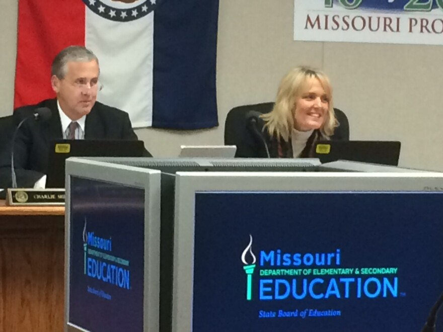 State school board President Charlie Shields and education Commissioner Margie Vandeven listen to Tuesday's discussion.