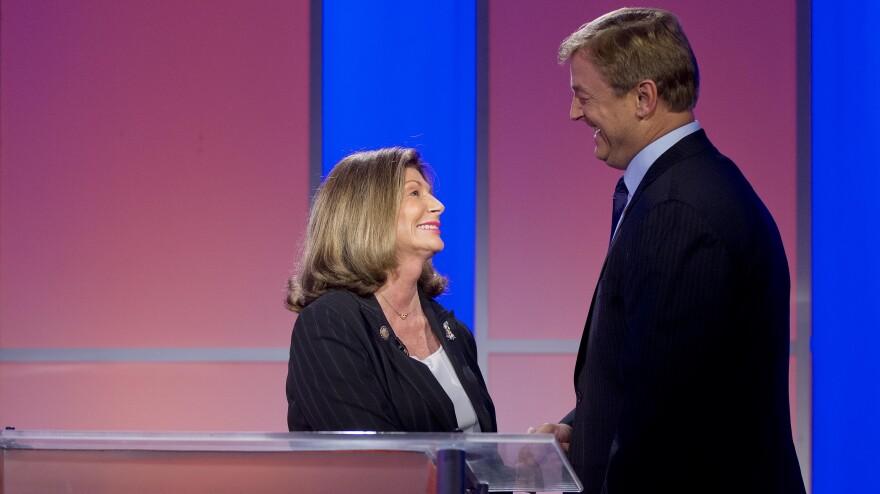 Democatic Rep. Shelley Berkley greets Republican Sen. Dean Heller before the second of their three debates, on Oct. 11 in Las Vegas.