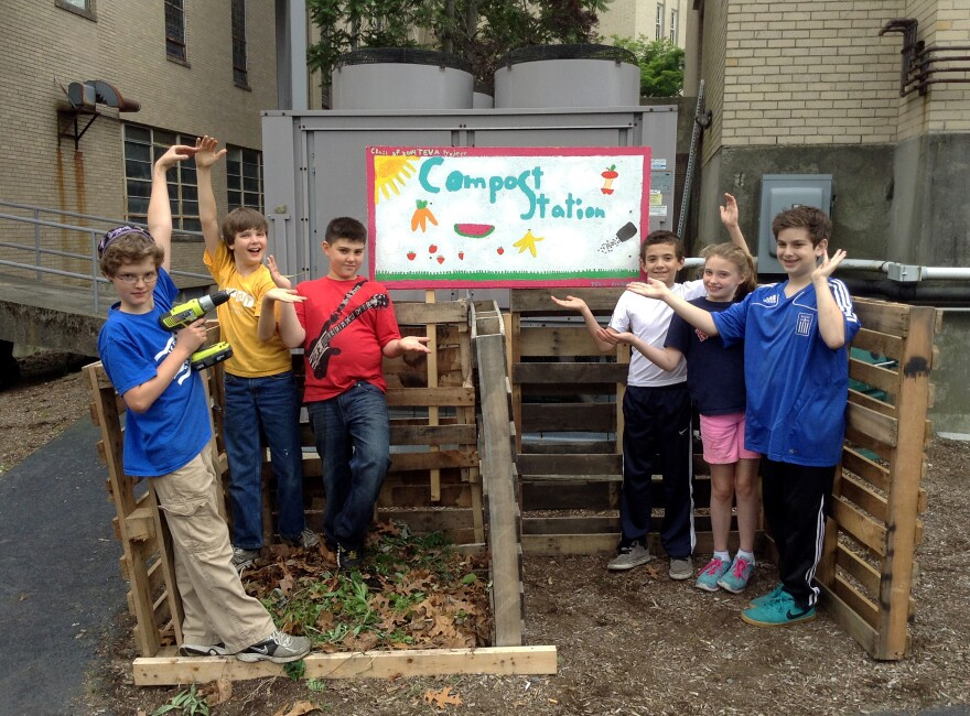A compost station for organic waste created by fifth graders at the Jewish Community Day School of Rhode Island in Providence.