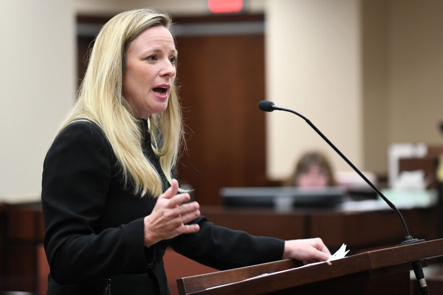 Assistant State Attorney Georgia Cappleman questions Wendi Adelson, Dan Markel's ex-wife Friday, September 27, 2019, in Tallahassee, Florida, during the murder trial for Markel's death.