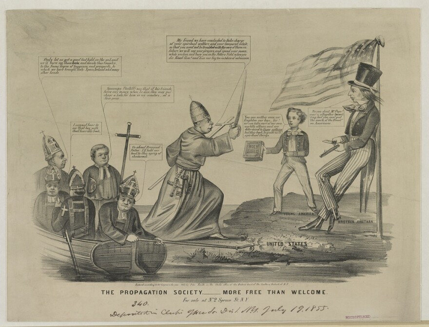 This cartoon, published around 1855, reflects the pervasive anti-Catholic sentiment of the era — perhaps best epitomized by the rise of the Know-Nothings, a nativist political party. Catholics, led by the pope, are depicted as an invading force of foreigners, rebuffed by a man dressed like Uncle Sam, who likens them to the anti-Christ.