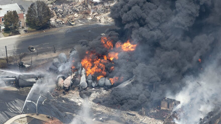 A train carrying crude oil derailed in Lac Megantic, Quebec, Canada in 2013 and the ensuing explosions and fire killed dozens of people. A jury acquitted three railroad employees of related charges on Friday.