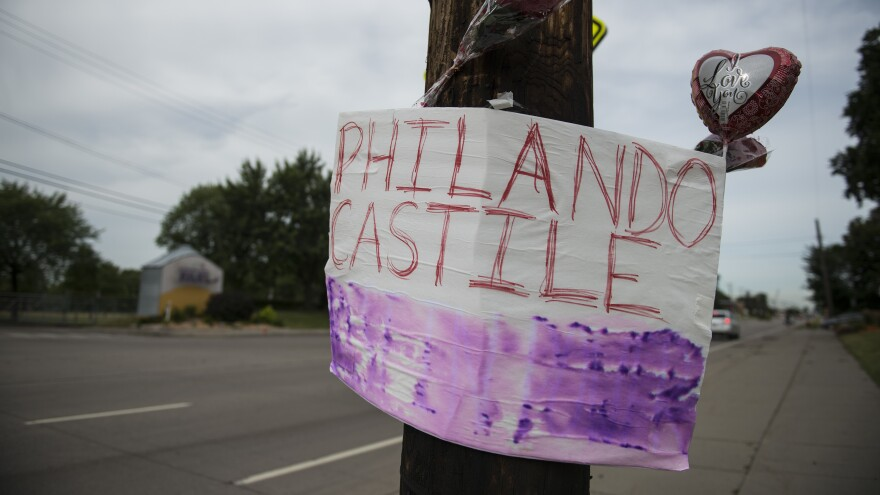 A memorial left for motorist Philando Castile on July 7, 2016, in St. Paul, Minn., the day after he was shot and killed by Jeronimo Yanez, a police officer who had pulled him over.
