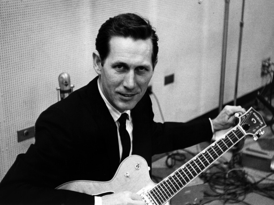Chet Atkins at RCA's Studio B in the 1960s.