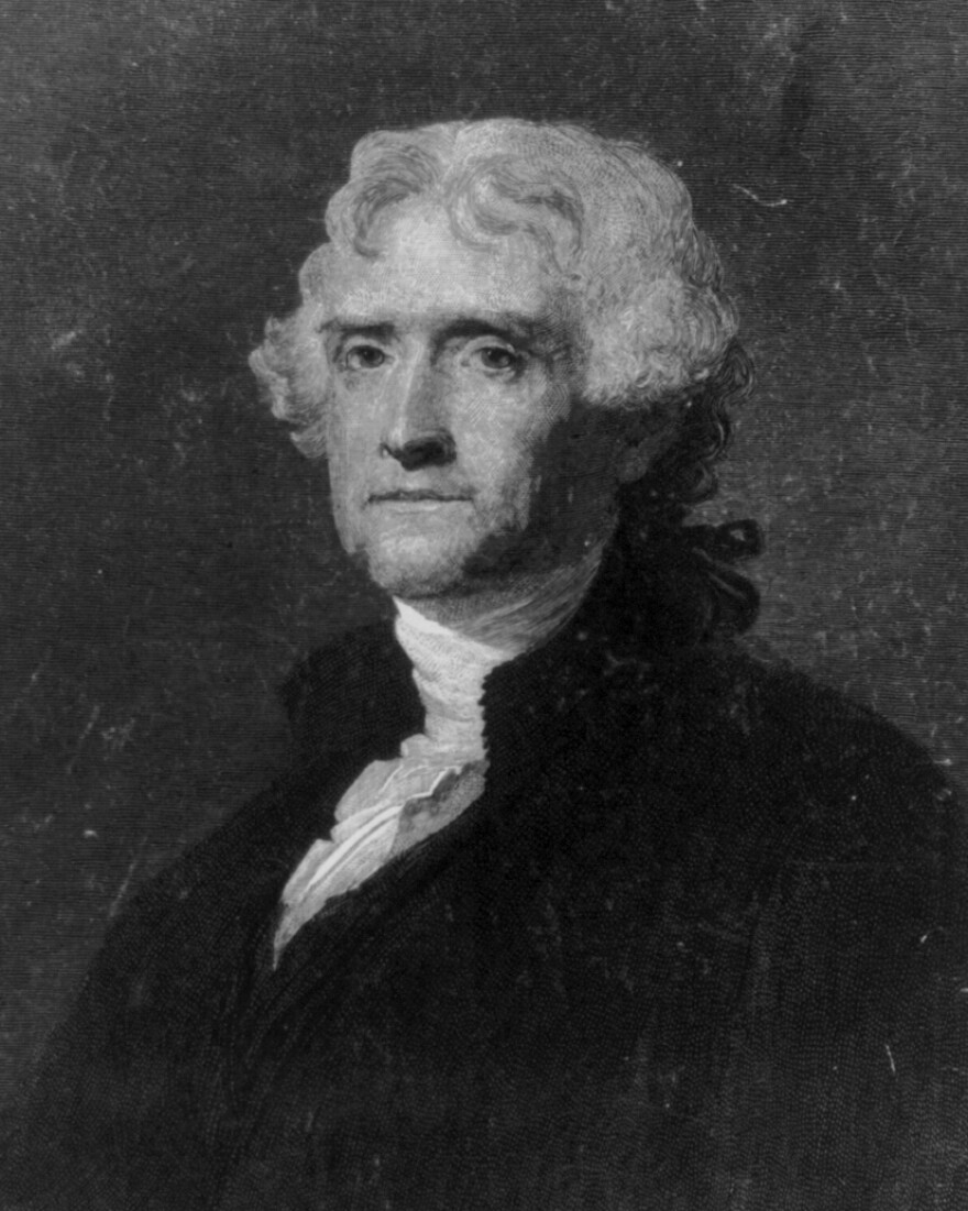 An engraving of Thomas Jefferson.