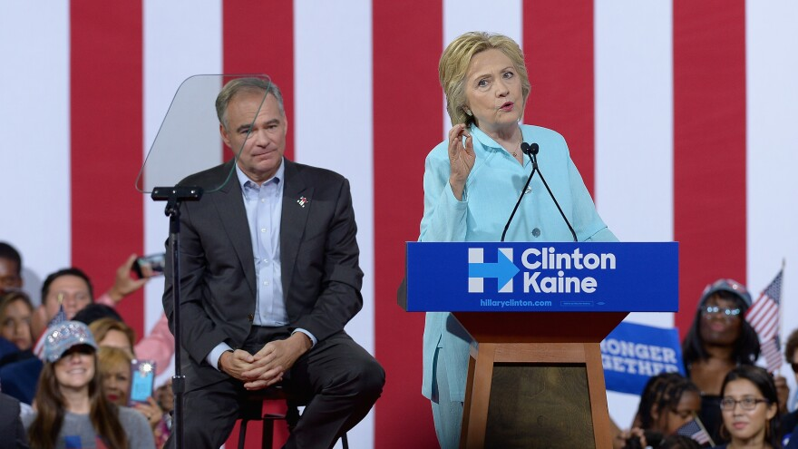 Democratic presidential nominee Hillary Clinton and her running mate, Sen. Tim Kaine, make their first public appearance as a joint ticket in Florida on July 23.