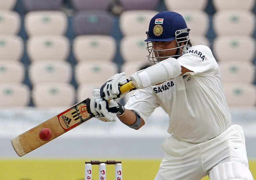 "Sachin Tendulkar, during a match against New Zealand in 2012. ""If you go to India and you say 'Sachen Tendulkar,' then he's God,"" says Samar Jha, a cricket player in Philadelphia. ""He is next to God."""