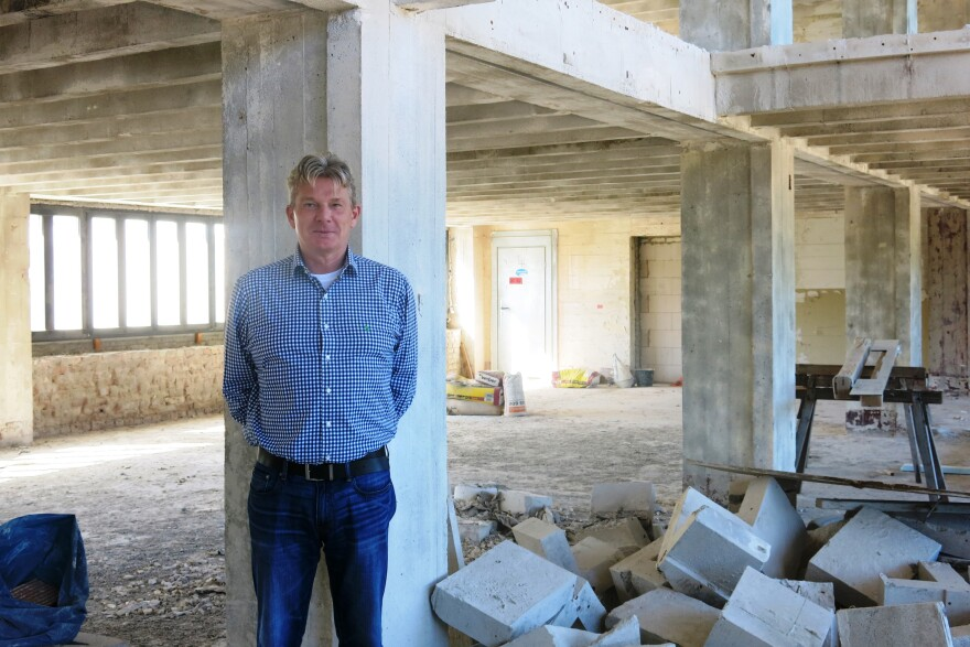 """Developer Ernst Ulrich Busch says the former solarium is his favorite spot in the former """"Strength Through Joy"""" building he's refurbishing. He plans to convert the solarium into two-story apartments."""