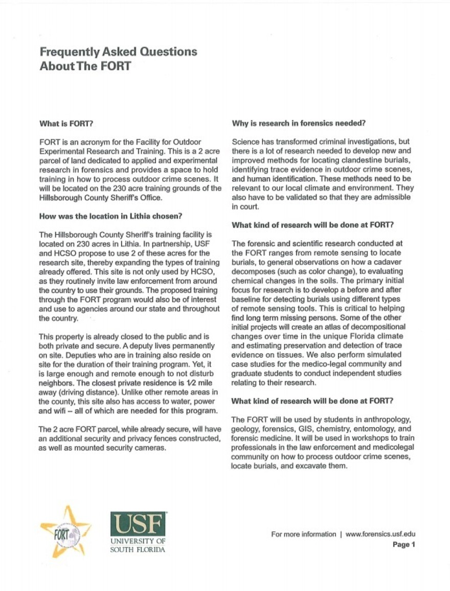 page 1 of frequently asked questions about the proposed facility