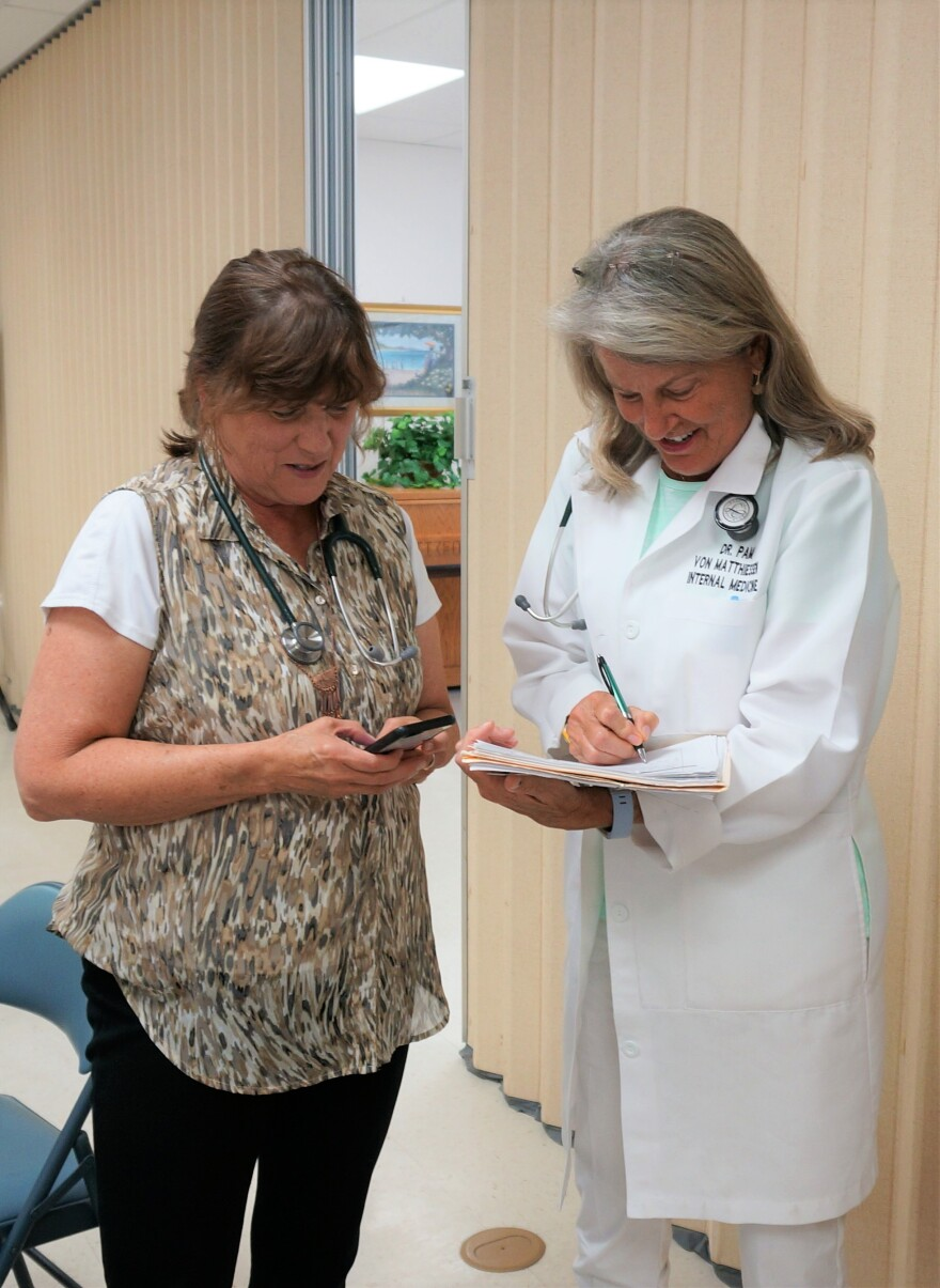 Executive Director Sharon Sherlock and Doctor Pamela von Matthiessen work together to find free or affordable solutions for Ohioians that can't afford health care.