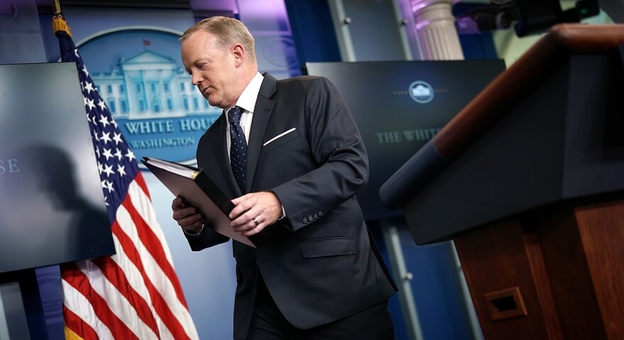 White House press secretary Sean Spicer departs after a briefing at the White House on Tuesday in Washington, D.C.