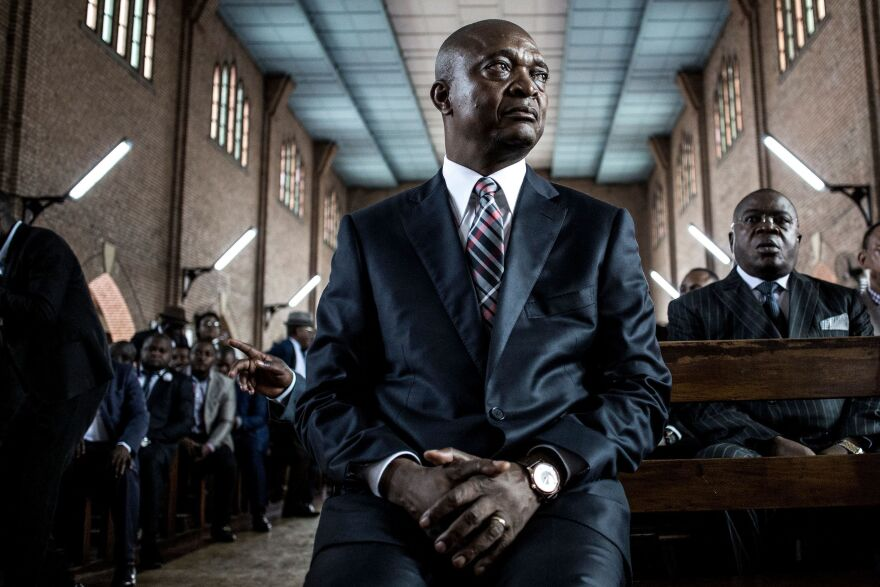 Emmanuel Ramazani Shadary in the Notre-Dame Du Congo Cathedral in Kinshasa last month, during the launch of his electoral campaign. He is President Kabila's favored candidate to succeed him.