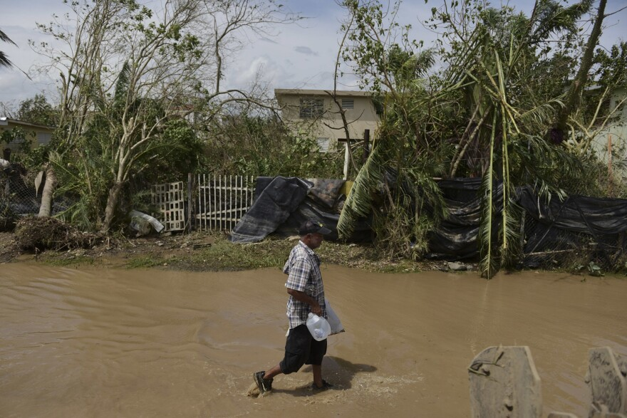 A resident walks on a flooded road after the passing of Hurricane Maria, in Toa Baja, Puerto Rico, Friday, September 22, 2017.  (Carlos Giusti/AP)