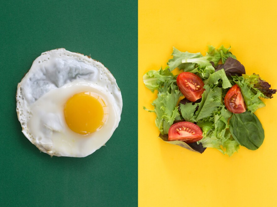 Eating eggs with your salad helps boost absorption of carotenoids — the pigments in tomatoes and carrots.