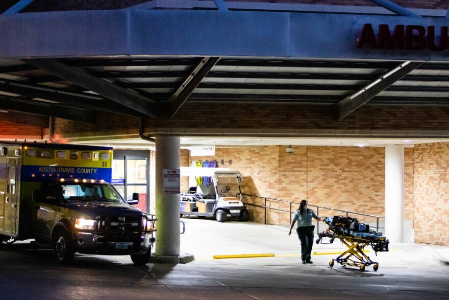 An ambulance loading area outside St. David's Medical Center in Austin.