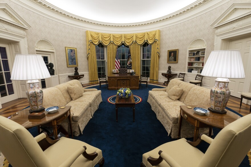 Looking toward the Resolute desk in the Oval Office.
